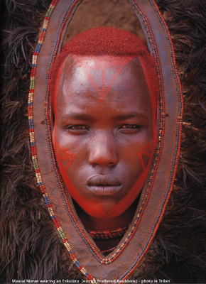"Traditional Maasai bodyart, from a photograph by Art Wolfe in ""Tribes"""