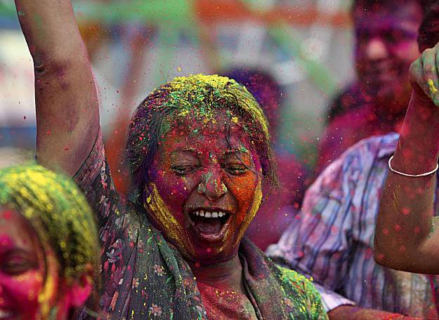 "from the Holi festival or ""Festival of Colors"""