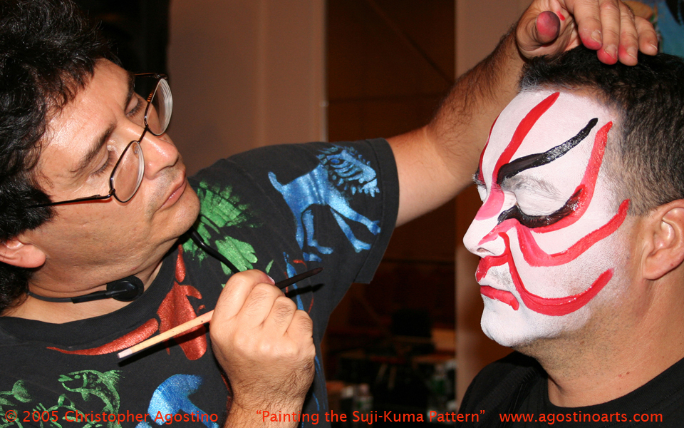 Painting the suji-kuma in a demonstration for the Art Educators of New Jersey conference