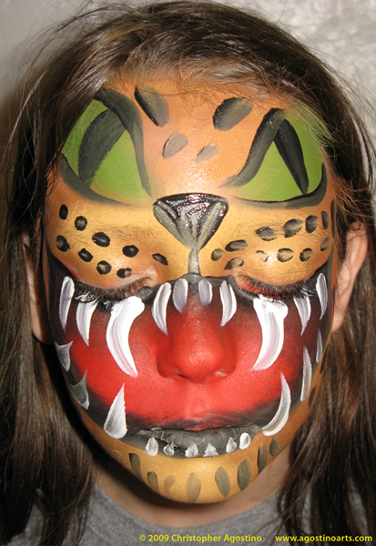 Jaguar Helmet Mask design Aztec Warrior Face Paint