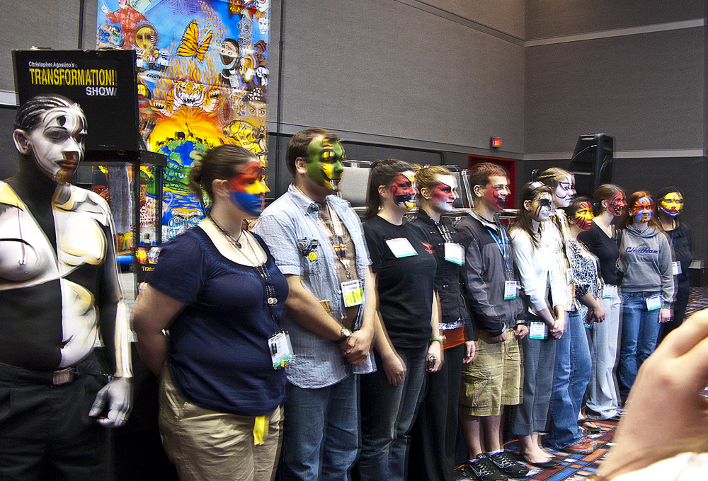 The participants from a Transformational Makeup lecture at the U.S. Institute of  Theatre Technology Conference (USITT) in Houston, 2008.