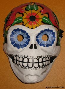 DiaDeLosMuertos_Mex_SkullFlowers_agostinoarts